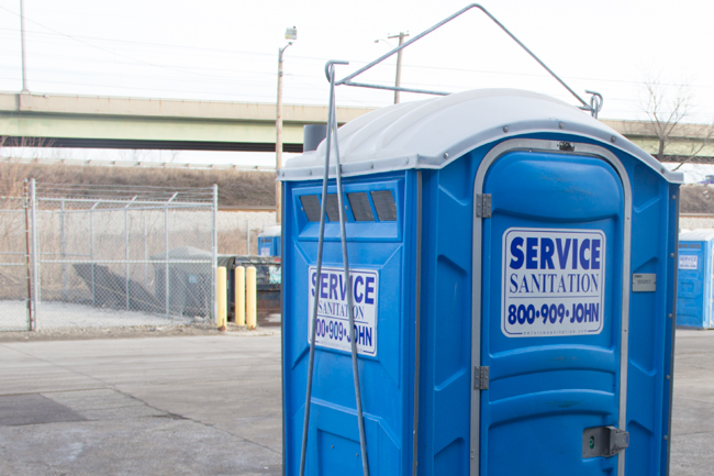 crane lift porta potty