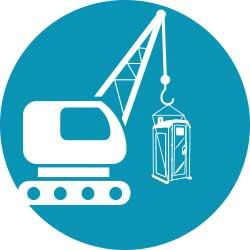Crane, Lift, Crane Lift, porta potty, construction